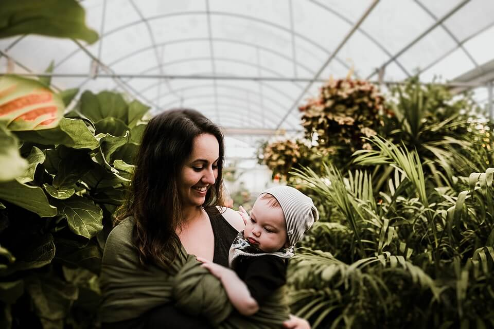 visite de la jardinerie avec bébé
